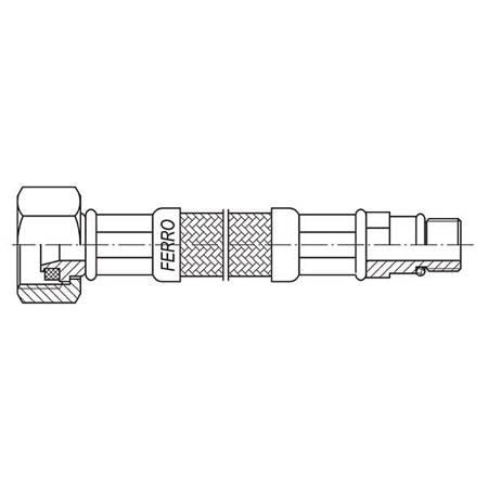 Ferro wąż w oplocie  1/2xM10x1'' 40cm z krótką końcówką