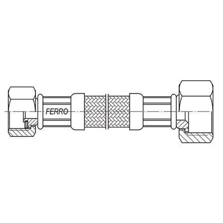 """Ferro wąż w oplocie  3/4""""×1/2"""" 30cm nakrętno - nakrętny"""