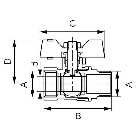 Ferro zawór kulowy 1/2 WZ z motylkiem PN20