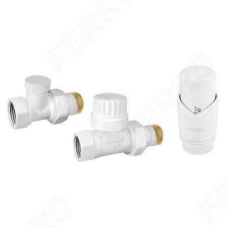 Ferro zestaw termostatyczny prosty z głowicą 1/2 kolor biały