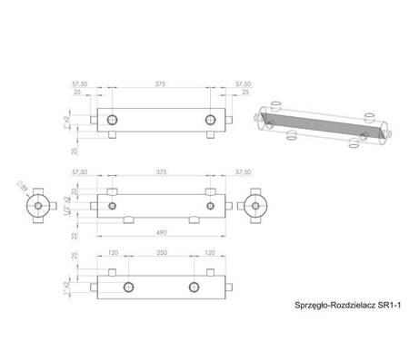 Sprzęgło hydrauliczne z rozdzielaczem 60kW ocieplone DN25 1'' SR1-1